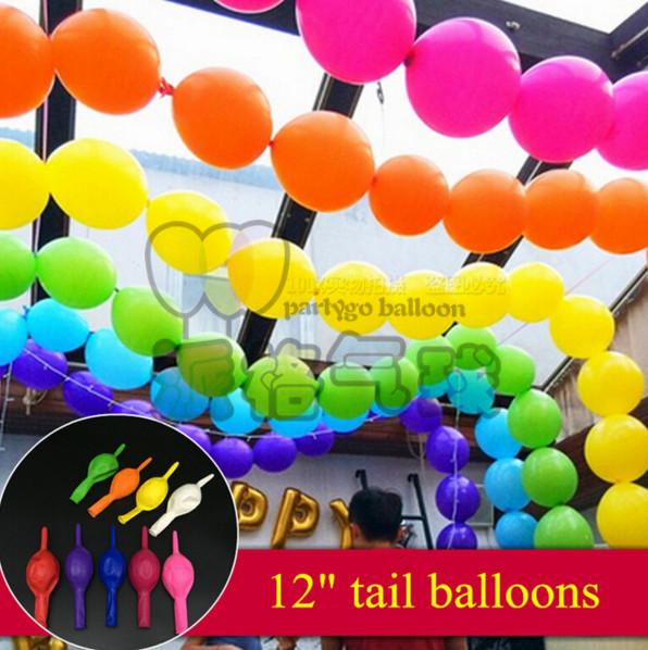 NEW! Good Quality100pcs/lot 12 2.8g Latex Helium tail balloons Wedding Party Birthday decoration balloon single colors<br><br>Aliexpress
