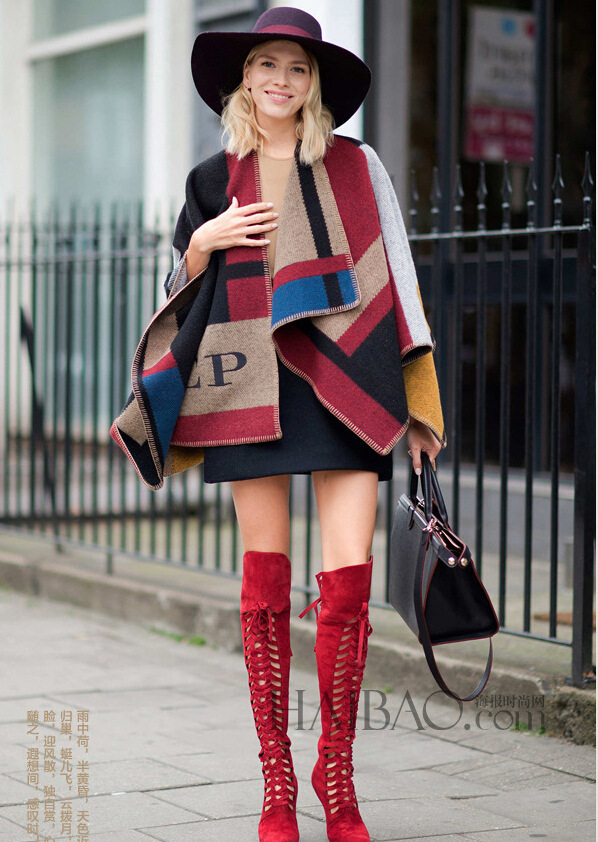Brand Women Poncho Prorsum Cashmere Wool Scarf Monogramed Poncho Prorsum Cape Colour Block Check Blanket Poncho bufanda manta(China (Mainland))