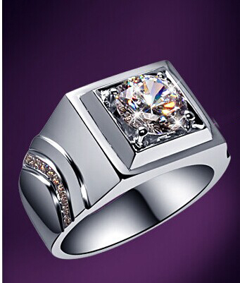 2 Carat Durable NSCD Synthetic Diamond Men's Wedding Ring Solid Sterling Silver Man Ring For Statement Best Birthday Gift(China (Mainland))
