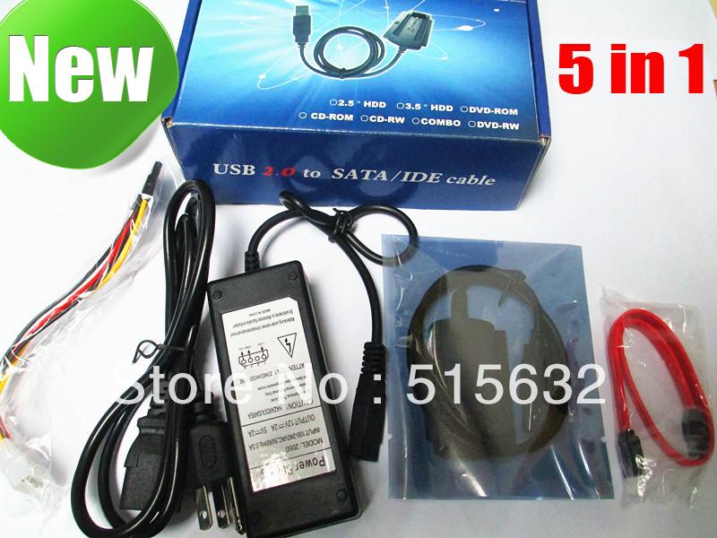 USB 2.0 TO SATA IDE Hard Drive Adapter Converter Cable for 2.5 3.5 Hard Drive(China (Mainland))