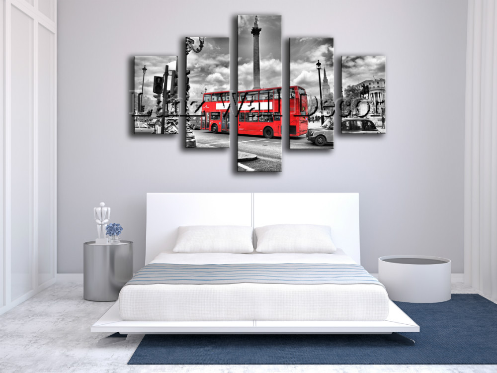 no wooden frame London's red bus canvas painting home decoration wall art gift pictures for living room(China (Mainland))