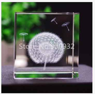 Free Shipping 2 Pieces 6*6*6cm 3D Laser Dandelion Crystal Cube For Holiday Gift(China (Mainland))