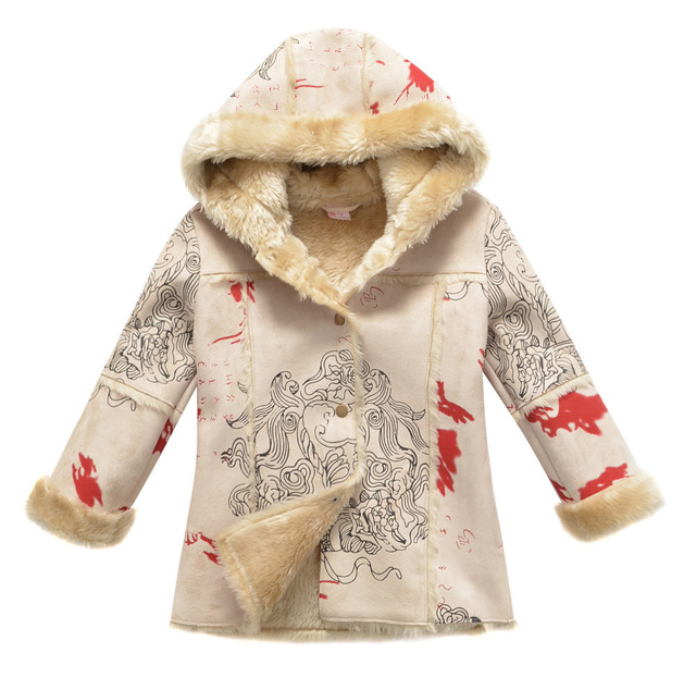 10$ Off per 100$ Freeshipping autumn winter beige brown rose red children baby girls kids suede jacket coat for  4-11Y PFDS09P10