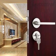 Long Term Sale Brushed Nickel Zinc Alloy Door Lock Interior Split Locks Indoor Safety Mute Lockset Door-locks(China (Mainland))