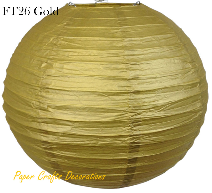 8pcs/lot 35cm (14inch) Gold Chinese/Japanese Round Paper Lanterns Lights lampions Balls Hanging Wedding Celebrations Parties(China (Mainland))