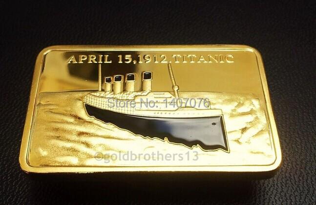 1 oz GOLD PLATED TITANIC ANNIVERSARY COMMEMORATIVE gold plated bullion bar RARE,20pcs/lot Free shipping(China (Mainland))