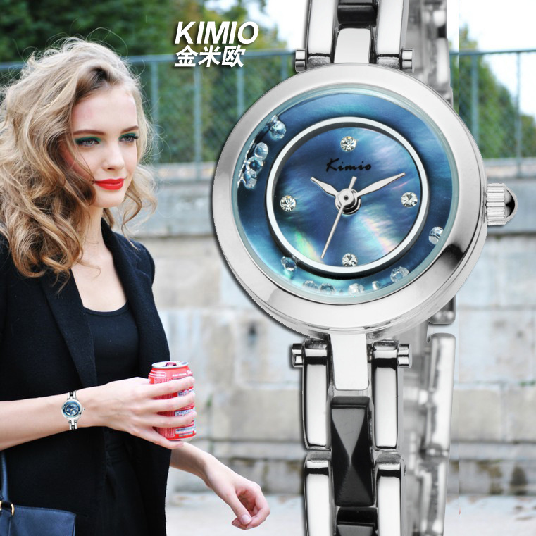 Elegant Brand Women Dress Watches Happy Crystals Bracelet Wristwatch Natural Shell Face Water Resistant Relojes Analog NW3855(China (Mainland))