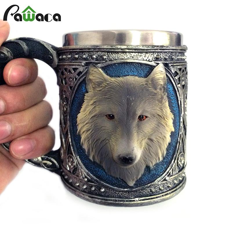 Wolf Drinking Mug Resin Stainless Steel Lining Retro 3D Wolf Pattern Wine 450 ML Funny Coffee Mug 2017 New Arrival(China (Mainland))