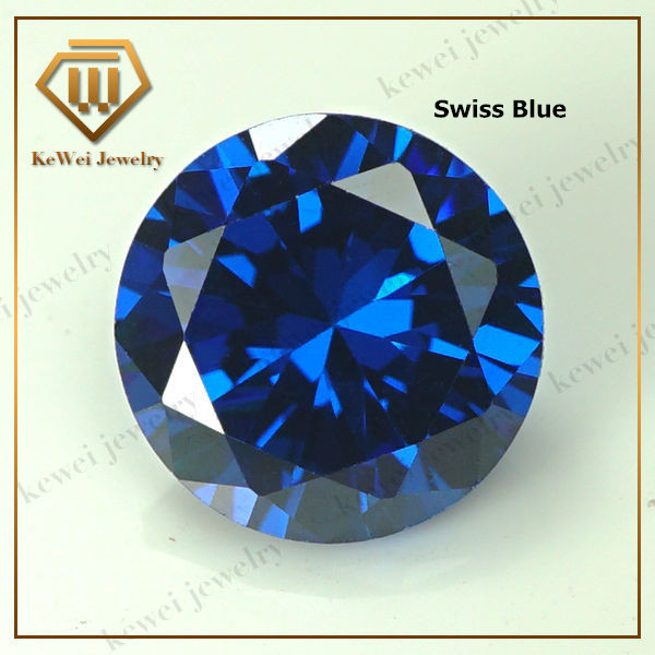 Blue Cubic Zirconia Stone AAAAA 4mm 5mm 6mm 7mm 8mm 9mm 10mm Synthetic Gemstone Round Shape Cubic Zirconia Stone(China (Mainland))