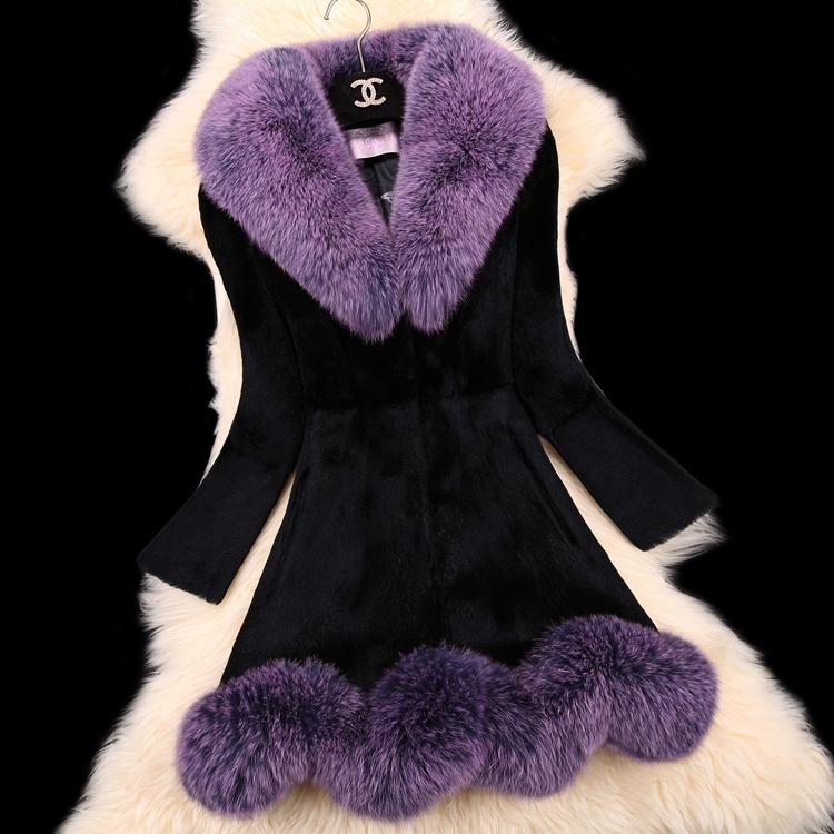 Hot Winter Women's Real Rabbit Fur Coat With Raccoon Fur Collar Female Slim Outerwear Coats Vintage Fur Coats Natural Fur Fox