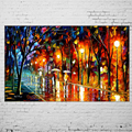 Hand Painted Street Landscape in Rain Oil Painting Picture Modern Wall Paintings On Canvas Knife Picture