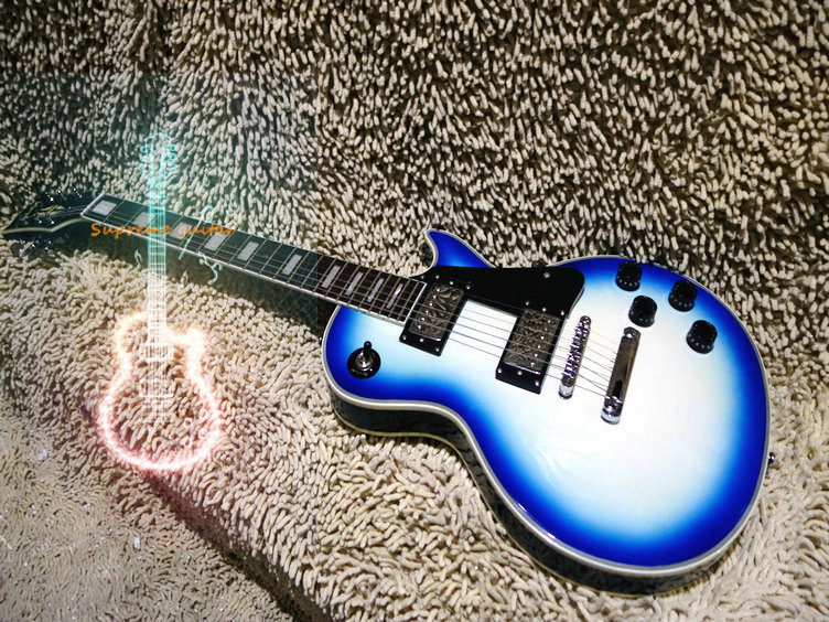 Wholesale and retail -New arrived Hot sale! blue LP custom model guitarIn blue +headstock electric guitar Free Shipping(China (Mainland))