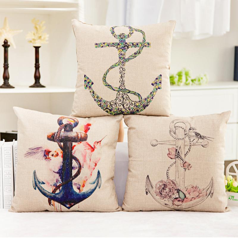 Square pillowcase Anchor pillow cover marine live Anchor home pillow case size 45*45cm throw pillow covers case Linen cotton(China (Mainland))