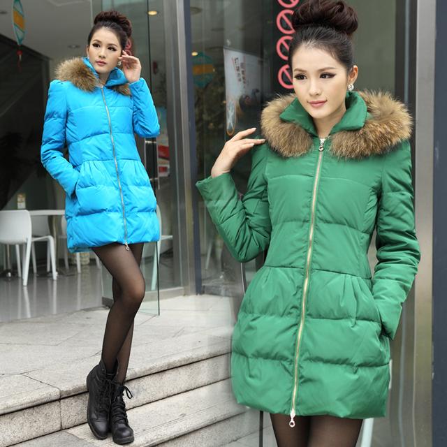 Free shipping 2013 luxury large fur collar slim medium-long fashion female down coat outerwear 0221071309