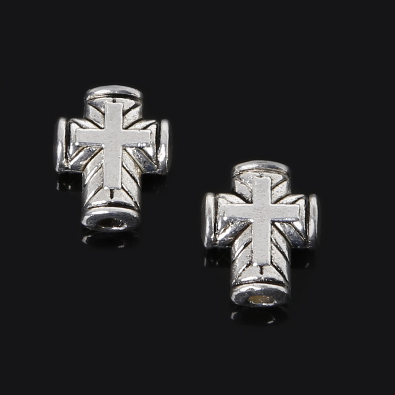Penney Hot Sale 8*10mm 160pcs Zinc Alloy Beads Antique Silver Plated Loose Spacer Cross Beads Charms Jewelry Findings Fit DIY(China (Mainland))