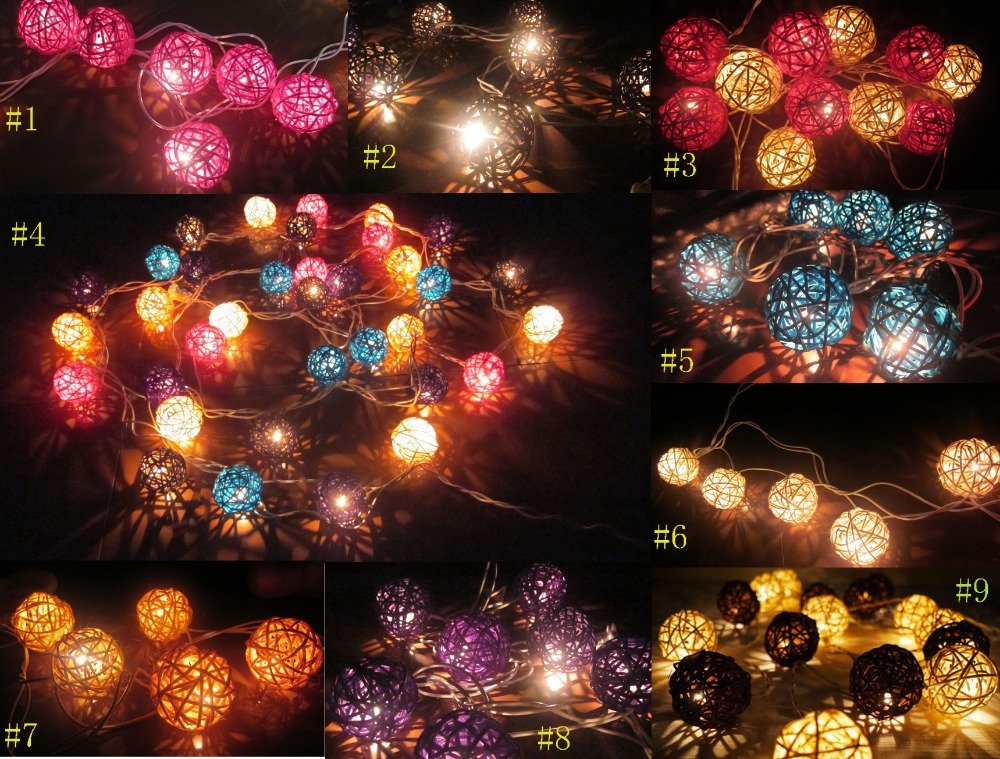 Ball String Christmas Lights : 20 Rattan Wicker Ball Light 2.5m String Light,Fairy Party BBQ Wedding Christmas Decor Light