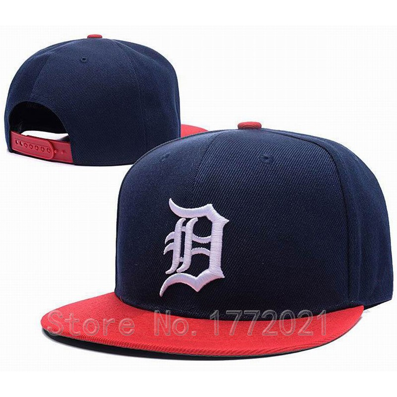 Men's Detroit Tigers Snapback Hats Dark Blue Top Red Visor Retro D Embroidery Logo Baseball Flat Caps(China (Mainland))