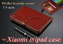 High quality business leather cover for xiaomi mipad leather case ultra-thin clamshell xiaomi mi pad cover case Free shipping
