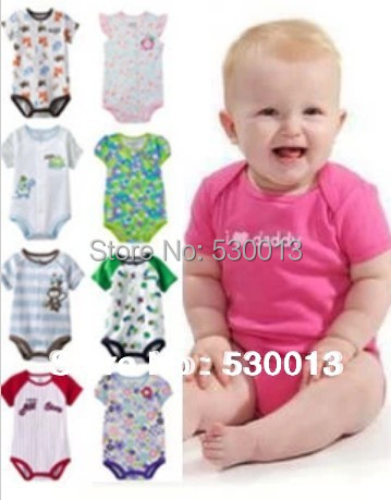 Free shipping retail Hot Selling Boys girls Romper Short sleeved Coveralls Bodysuit Infant Baby Jumpsuit Shorts