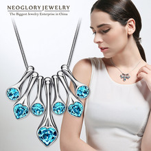 Neoglory MADE WITH SWAROVSKI ELEMENTS Crystal Chain Bib Necklaces For Women Fashion Jewelry Accessories 2014 New Arrival Brand