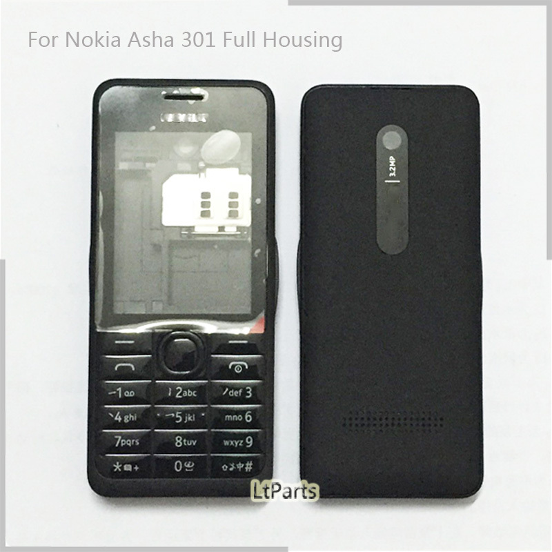 'Dual Sim' Back cover Battery Door case Full Housing Cover Door Frame for Nokia Asha 301 n301 Replacement Parts complete housing(China (Mainland))