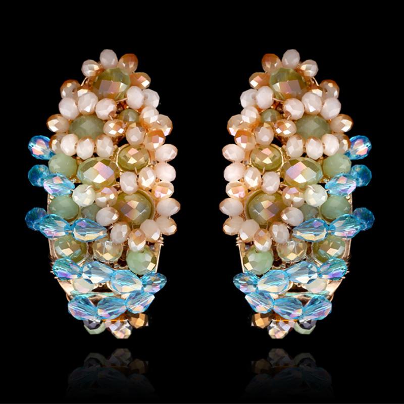 Kaymen New Design Gold Plated Cute Handmade Multicolor Crystal Beads Weaving Stud Earrings Women Fashion Jewelry Maxi - KAYMEN JEWELRY CO,.LED. store