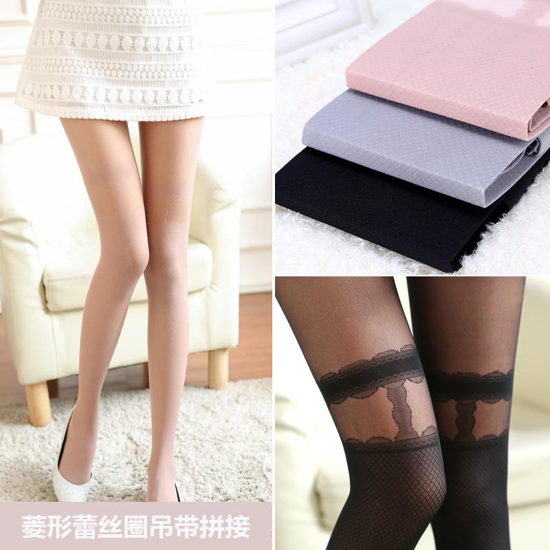 2015 new diamond ring hollow lace panty sling false high tube tights primer stitching silk stockings(China (Mainland))