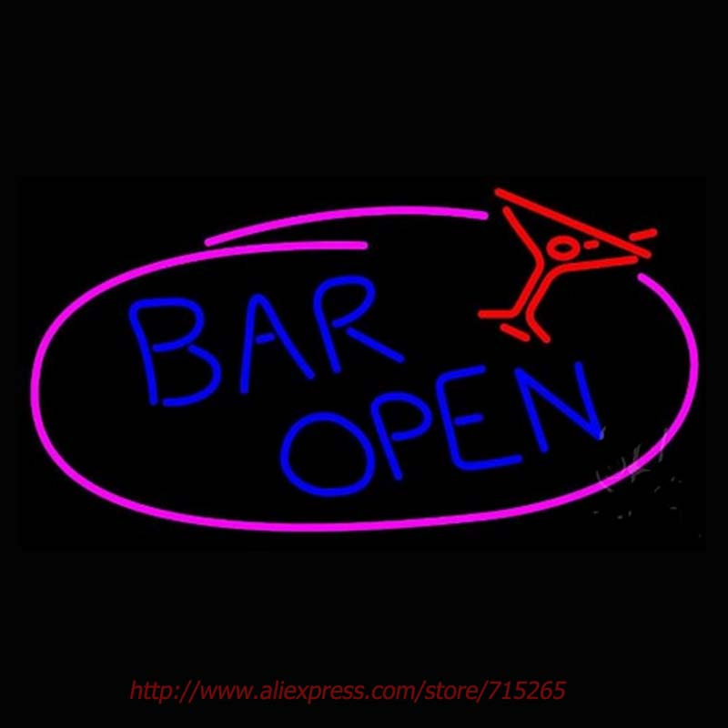 Blue Bar Open Neon Sign Neon Bulbs Led Signs Real Glass Tube Recreation Room Restaurant Store Display Beer Bar Pub 30x15(China (Mainland))