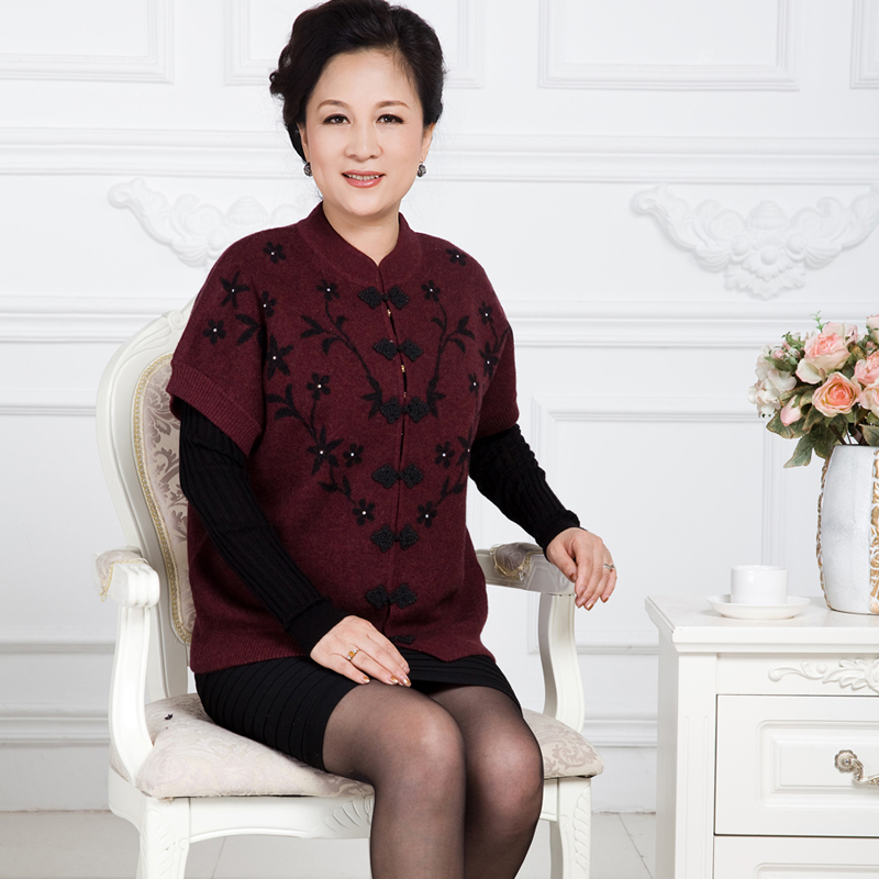 2015 China Style Knitwear Cardigan Women Warm Cashmere Sweater For Mother&Mum Winter&Autumn Elderly Knitted Sweaters Plus Size(China (Mainland))