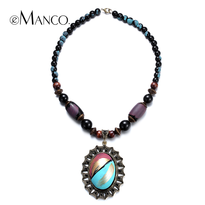 //Geometric pendant multicolor resin necklace// retro style wooden bead necklace trendy summer jewelry 2015 eManco NL13347(China (Mainland))