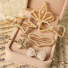 Special Offer Women Children New Pearl Diamond Bow Peach Crown Golden Clip Hairpin Liu Haijia