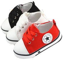 2015 summer spring Canvas children's shoes star fashion sneakers kids lace-up casual shoes for girls boys black withe red(China (Mainland))