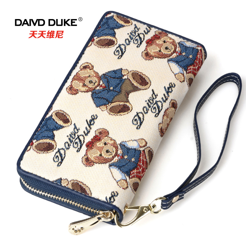 Korean bear colorful cotton single elongated Wallet cartoon fashion lady long and large capacity female casual clutch wallets<br><br>Aliexpress