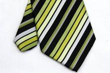 NT0137 Green Black Stripe Multicolor Man s Wedding Business Luxury Tie Jacquard Woven Classic Silk Polyester