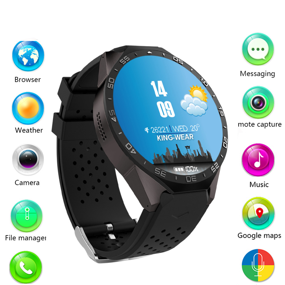 Original kw88 android 5.1 smart electronic watch android 1.39 inch mtk6580 smart watch mobile phone support 3g wifi nano sim wcd(China (Mainland))