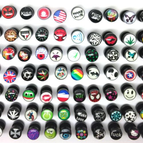 Fashion Stud earrings ear plugs 10mm acrylic 1.2mm mixed logos skull star for men women anti-allergic mixed design free shipping(China (Mainland))