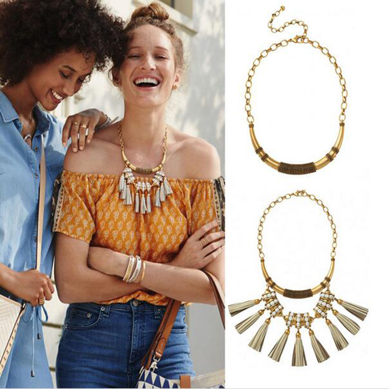 Pop Runway Jewelry Celebrity Style Genuine Leather Tassels Swing Vintage Gold Collar Necklace Party T Show Necklace(China (Mainland))