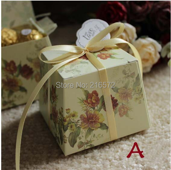 2015 Wedding Print Candy Box Wedding Favors Boxes Free Shipping Wholesale 100pcs Lot Candy Boxes