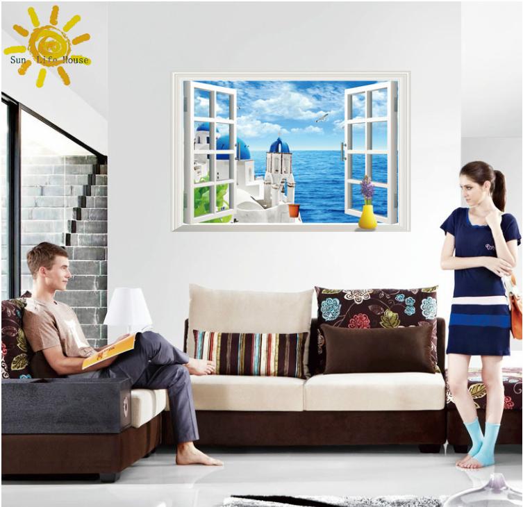 Aegean Sea 3D Wall Stickers false wall sticker pvc windows landscape green removable wall stickers Santorini + gift !(China (Mainland))