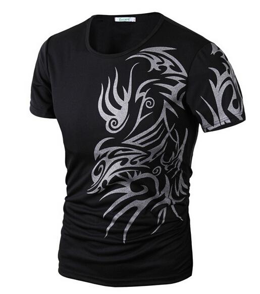 2015 новых вершин мода марка 10 стиль футболки для мужчин новинка дракон печать татуировки мужской о-образным шеи футболки M-XXXL