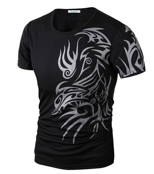 2015 New Tops Fashion Brand 10 style T Shirts for Men Novelty Dragon Printing Tattoo Male O-Neck T Shirts M-XXXL Free shipping(China (Mainland))