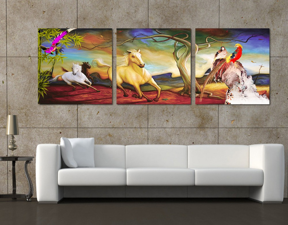 Hot sell new fashion free shipping 3 pieces wall painting of horse home decor art picture paint - Sell home decor online collection ...