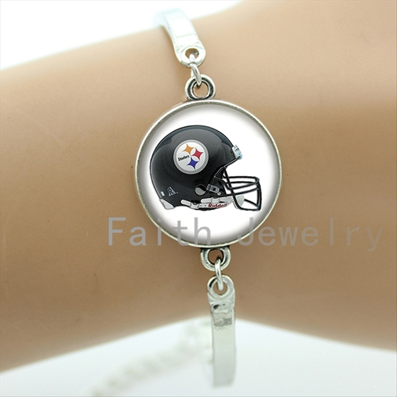 Vintage american football team logo helmet photo bracelet case for Pittsburgh Steelers jewelry trendy rugby bracelets men NF111(China (Mainland))