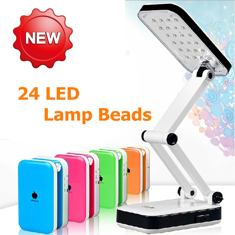 LED rechargeable table Desk Lamps, folding desk lamp, On Selling Reading Lamp, 24Leds Folding Design Table Lamp, free shipping.(China (Mainland))