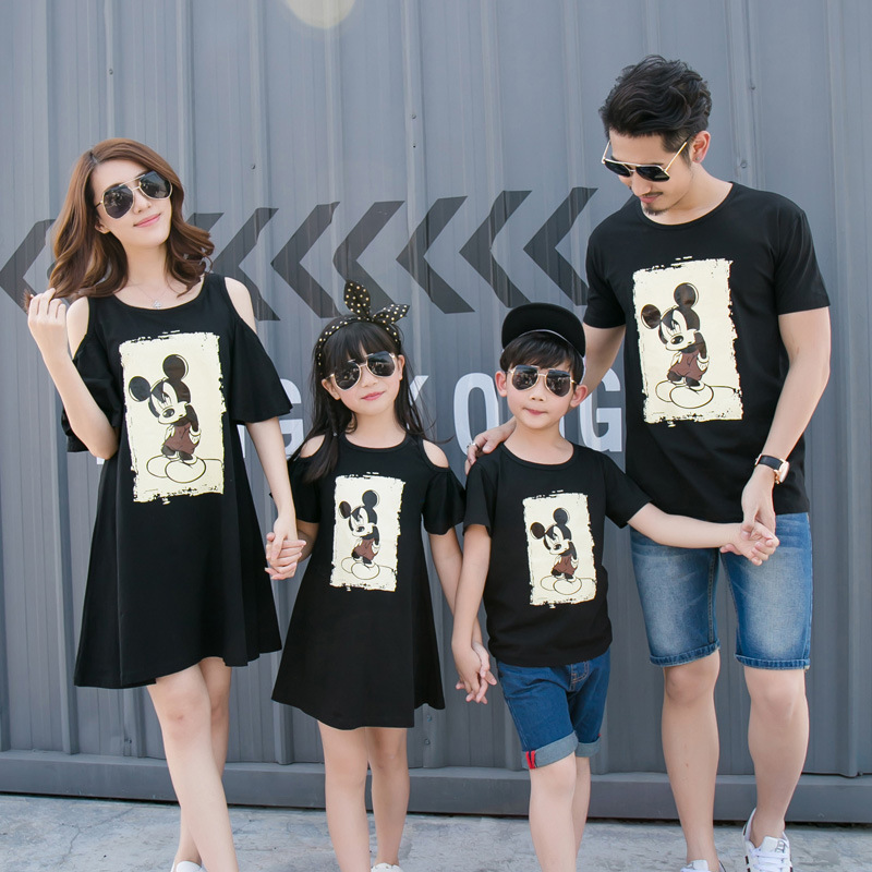 Family matching clothes for summer korean style mother and daughter dress cartoon mouse font b boys