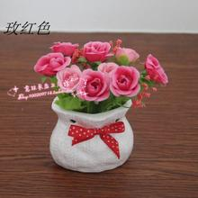 Hot-selling hot-selling artificial flower mini artificial flower desktop ceramic cloth bags small bonsai decoration(China (Mainland))