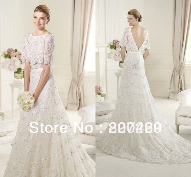 2013 Hot Sale Lace A-line Half Sleeves Wedding Dress--MG198