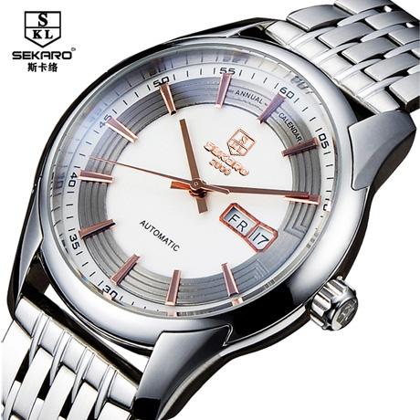 2015 new men original authentic luxury automatic mechanical watch waterproof business fashion leisure wrist double calendar(China (Mainland))