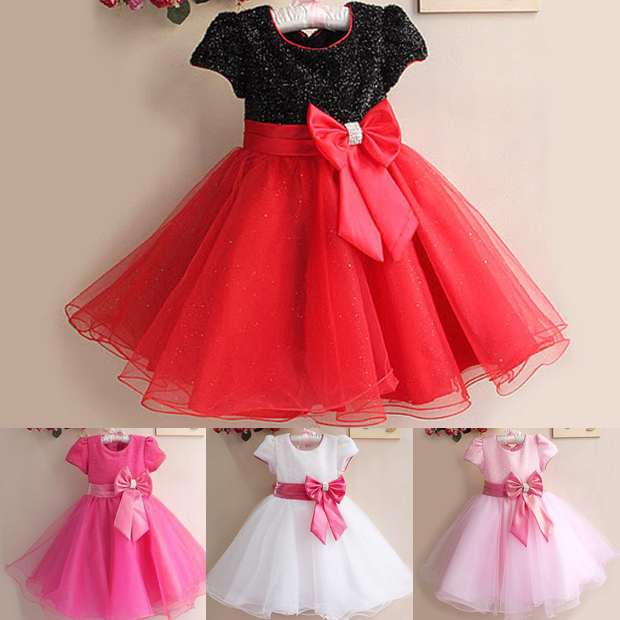 Baby Girl Toddler Princess Pageant Party Tutu Lace Bow