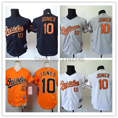 Factory Price Youths Baltimore Orioles Jerseys #10 Adam Jones Baseball Jersey,100% Embroidery Logos,Size S-XL,Accept Mixed Order(China (Mainland))